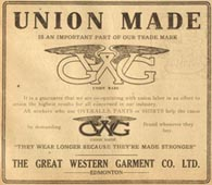 GWG advertisement for union made goods
